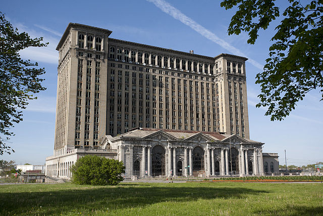 """Michigan Central Train Station Exterior 2010"" by Albert duce. Licensed under CC BY-SA 3.0 via Commons"
