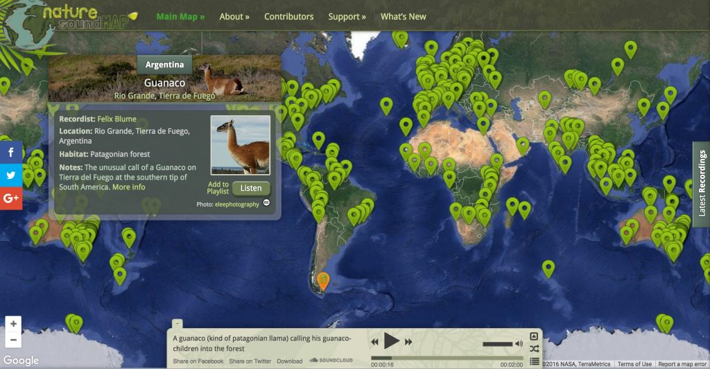 Nature SoundMap -explore the sounds of animals around the world!