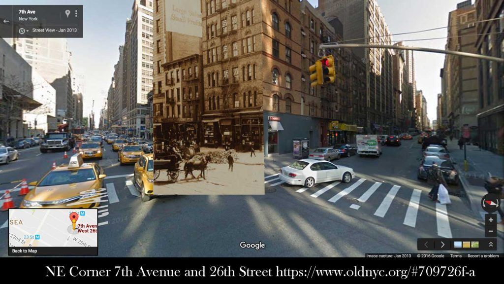 The corner of 7th Avenue and 26th Street, then and now