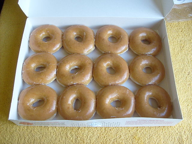 12 Krispy Kreme Donuts - CC licensed photo from Wikimedia Commons
