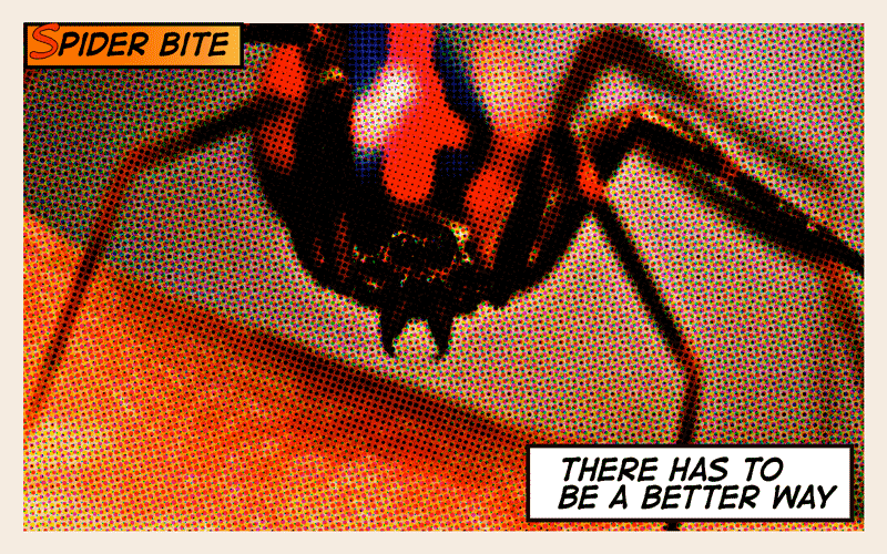 Comic panel of spiderman's spider bite