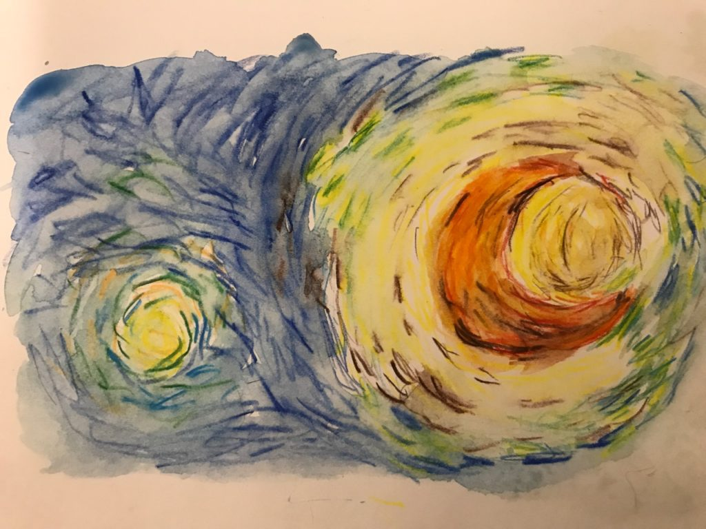 Water color copy of a portion of Van Gogh's Starry Night