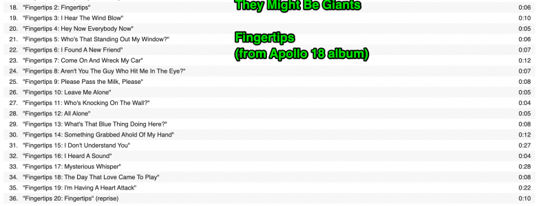 Fingertips Song List by They Might Be Giants